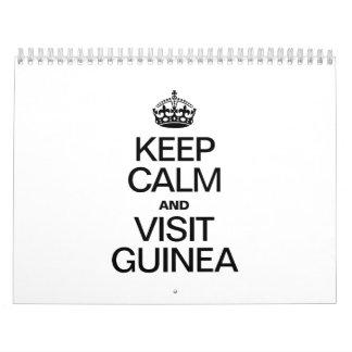 MANTENGA GUINEA TRANQUILA Y DE LA VISITA CALENDARIOS