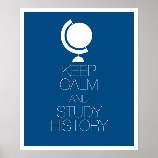 Mantenga historia tranquila y del estudio poster