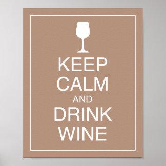 Mantenga impresión tranquila y de la bebida del poster