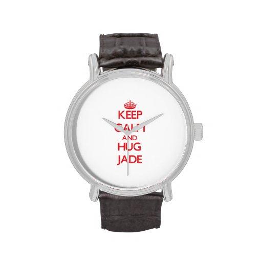 Mantenga jade tranquilo y del abrazo relojes de pulsera