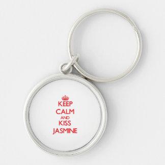 Mantenga jazmín tranquilo y del beso llavero personalizado