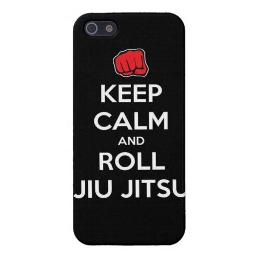 mantenga jitsu tranquilo y del rollo del jiu iPhone 5 protectores