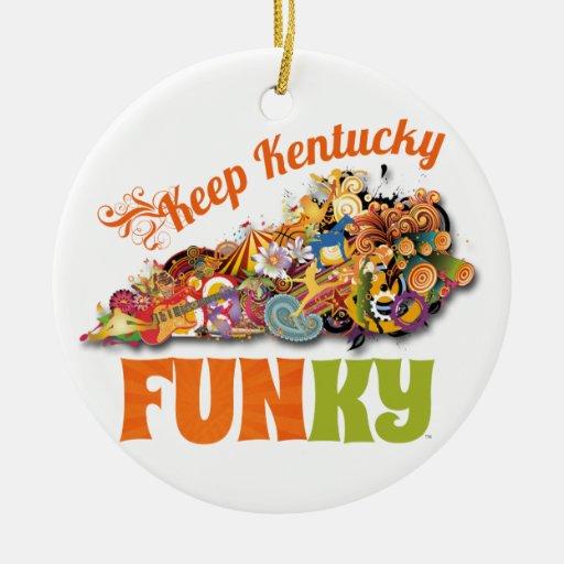 Mantenga Kentucky enrrollado Adorno Navideño Redondo De Cerámica