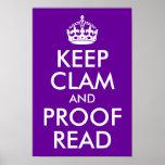 Mantenga la almeja y la prueba leídas posters