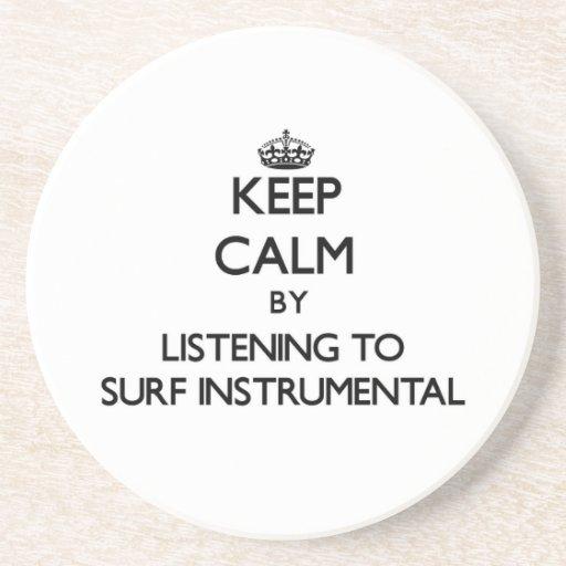 Mantenga la calma escuchando la RESACA INSTRUMENTA Posavasos De Arenisca