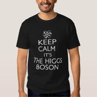 Mantenga la calma su el bosón de Higgs Remeras
