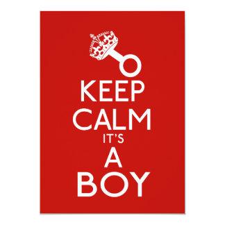 """Mantenga la calma su un muchacho invitación 5"""" x 7"""""""
