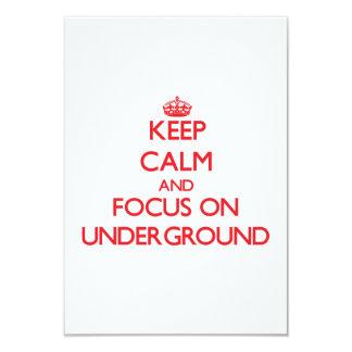 """Mantenga la calma y el foco encendido subterráneos invitación 3.5"""" x 5"""""""