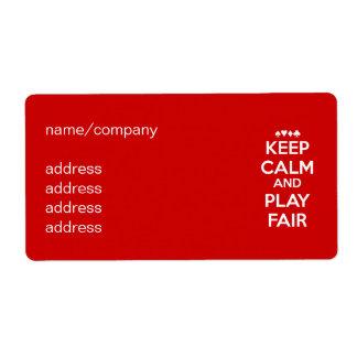 Mantenga la calma y el juego justos etiquetas de envío