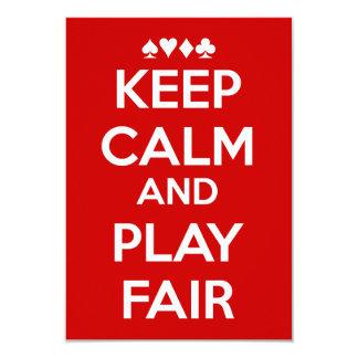 Mantenga la calma y el juego justos invitación 8,9 x 12,7 cm