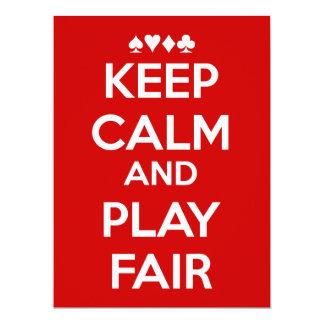 Mantenga la calma y el juego justos invitación 16,5 x 22,2 cm