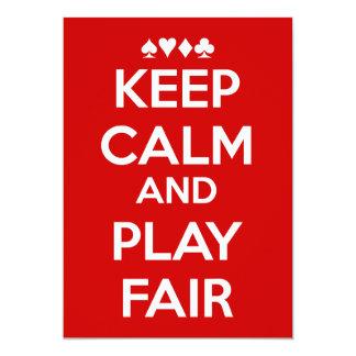 Mantenga la calma y el juego justos invitación 12,7 x 17,8 cm