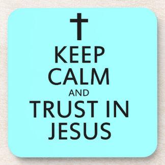 Mantenga la calma y la confianza Jesús Posavasos De Bebida