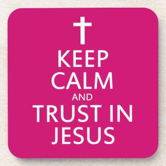 Mantenga la calma y la confianza Jesús Posavasos De Bebidas