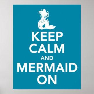 Mantenga la calma y la sirena en el poster de la i