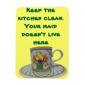 Mantenga la cocina limpia iman de vinilo