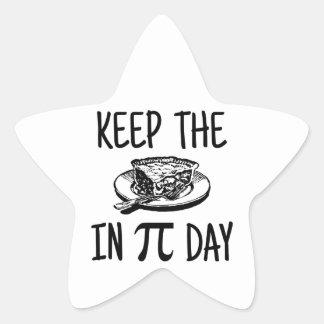 Mantenga la empanada día del pi calcomanias forma de estrella