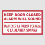 Mantenga la muestra cerrada puerta inglesa- pegatina rectangular