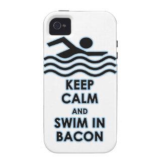 Mantenga la nadada tranquila tocino vibe iPhone 4 fundas