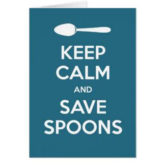 Mantenga las cucharas tranquilas y de la reserva tarjeta de felicitación