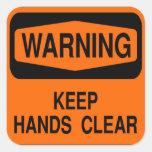 Mantenga las manos claras pegatinas cuadradas