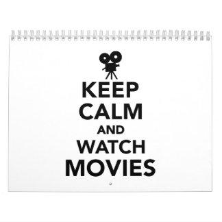Mantenga las películas tranquilas y del reloj calendario de pared