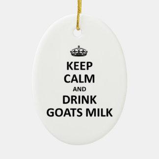 Mantenga leche tranquila y de la bebida de las adorno navideño ovalado de cerámica