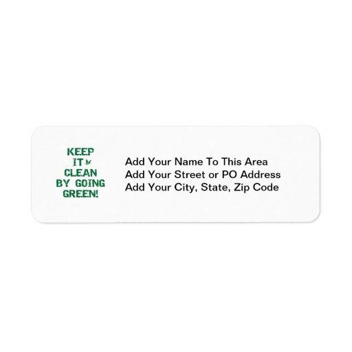Mantenga limpio por las camisetas y los regalos ve etiqueta de remite