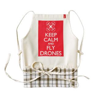 Mantenga los abejones tranquilos y de la mosca delantal zazzle HEART