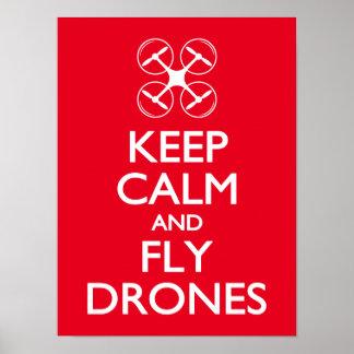 Mantenga los abejones tranquilos y de la mosca póster