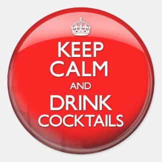Mantenga los cócteles tranquilos y de la bebida pegatina redonda