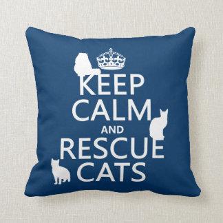 Mantenga los gatos tranquilos y del rescate (en cu cojines