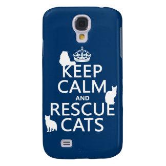 Mantenga los gatos tranquilos y del rescate (en cu funda para galaxy s4