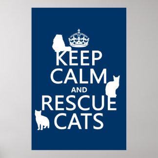 Mantenga los gatos tranquilos y del rescate (en cu poster