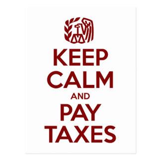Mantenga los impuestos tranquilos y de la paga postales