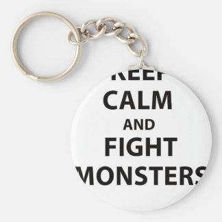 Mantenga los monstruos tranquilos y de la lucha llavero redondo tipo pin