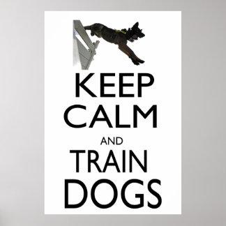 Mantenga los perros tranquilos y del tren póster