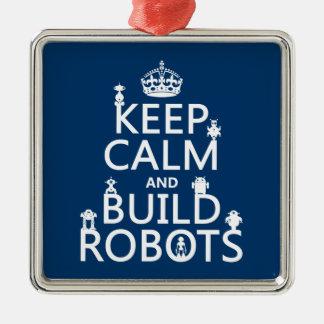 Mantenga los robots tranquilos y de la estructura adorno navideño cuadrado de metal