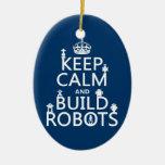 Mantenga los robots tranquilos y de la estructura adorno navideño ovalado de cerámica