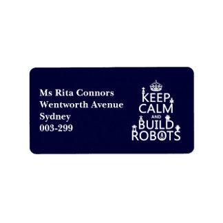 Mantenga los robots tranquilos y de la estructura etiquetas de dirección