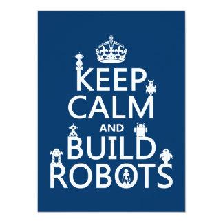 Mantenga los robots tranquilos y de la estructura invitación 13,9 x 19,0 cm