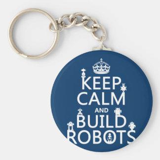 Mantenga los robots tranquilos y de la estructura llavero redondo tipo pin