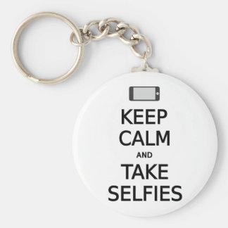 mantenga los selfies tranquilos y de la toma llavero