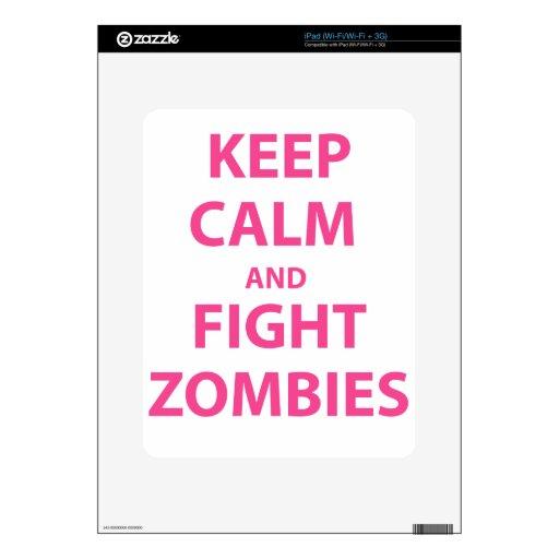 Mantenga los zombis tranquilos y de la lucha iPad skin