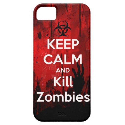 mantenga los zombis tranquilos y de la matanza iPhone 5 Case-Mate cárcasas