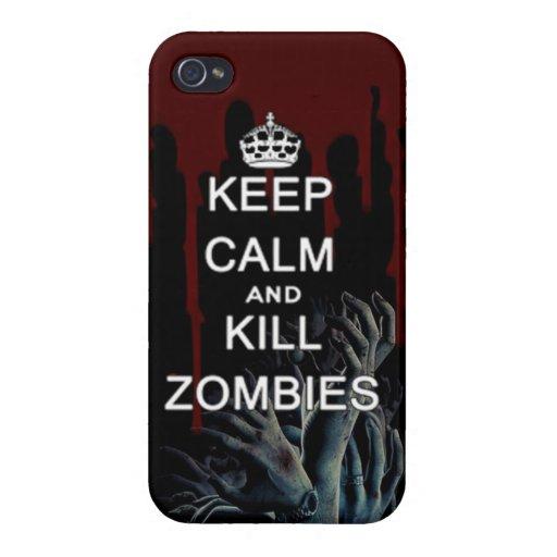 mantenga los zombis tranquilos y de la matanza iPhone 4 coberturas