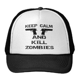 Mantenga los zombis tranquilos y de la matanza gorros bordados
