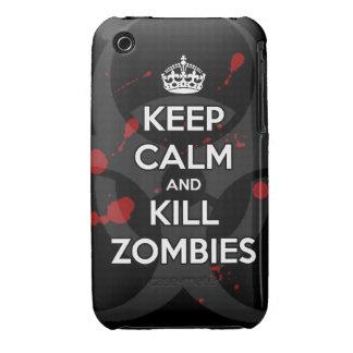 mantenga los zombis tranquilos y de la matanza iPhone 3 Case-Mate coberturas