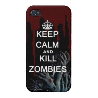 mantenga los zombis tranquilos y de la matanza iPhone 4/4S carcasa