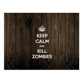 Mantenga los zombis tranquilos y de la matanza tarjetas postales